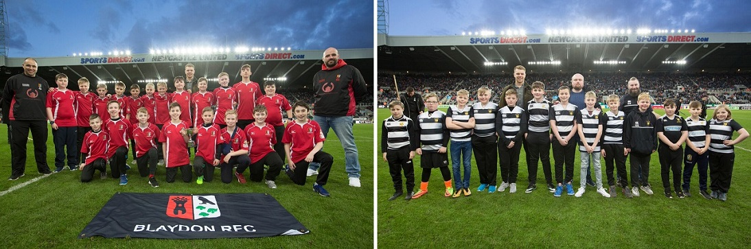 Blaydon and Houghton on the St James' Park pitch at half-time of The Big One